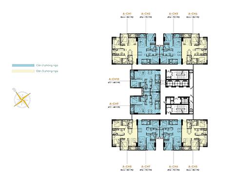 Những ưu điểm của mặt bằng tháp A dự án BV Diamond Hill